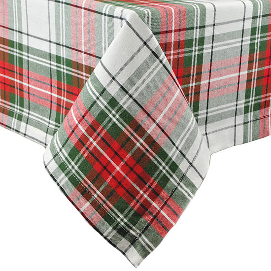 "Design Imports Christmas Plaid 52x52"" Tablecloth"