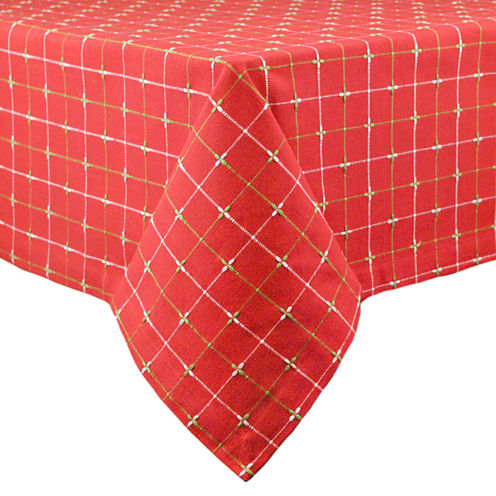 """Design Imports Holiday Dobby 52x52"""" Tablecloth"""