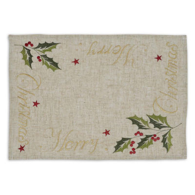Design Imports Merry Christmas Set of 6 Embroidered Placemats