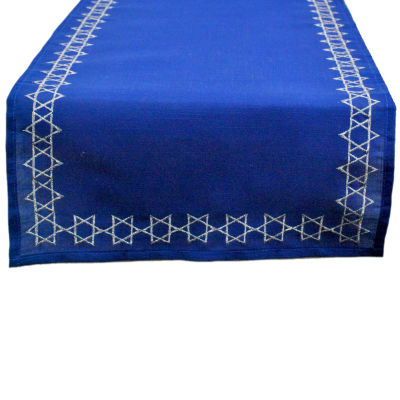 Design Imports Embroidered Star of David Table Runner