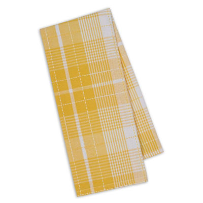 Design Imports Daffodil Plaid Set of 4 Kitchen Towels