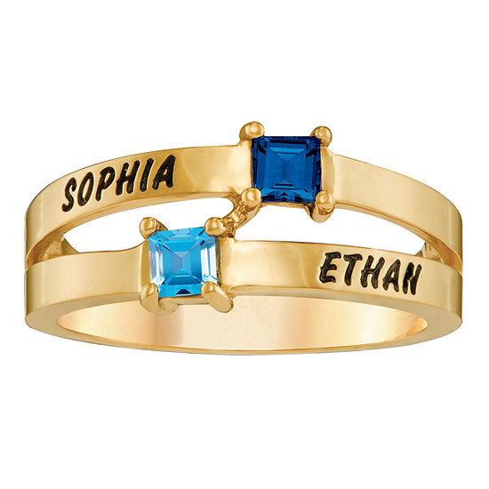 Personalized Engraved Split Shank Birthstone Ring