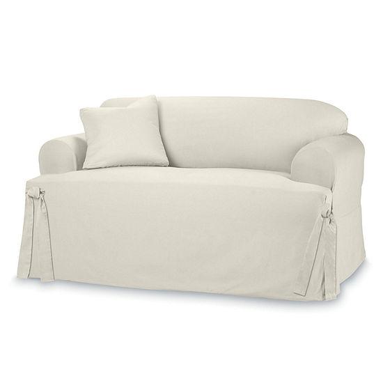 Terrific Sure Fit Cotton Duck 1 Pc Sofa Slipcover Interior Design Ideas Grebswwsoteloinfo