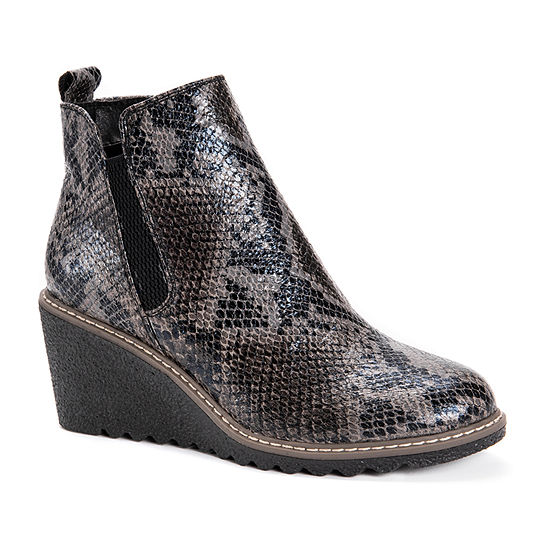 Muk Luks Womens Dionne Wedge Heel Chelsea Boots