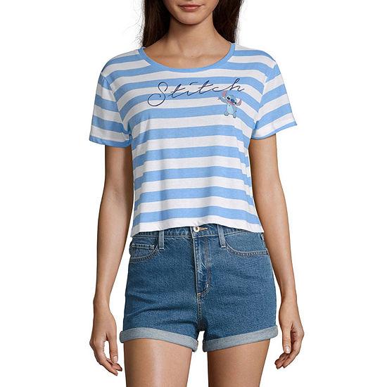 Disney Womens Crew Neck Short Sleeve Graphic T-Shirt-Juniors