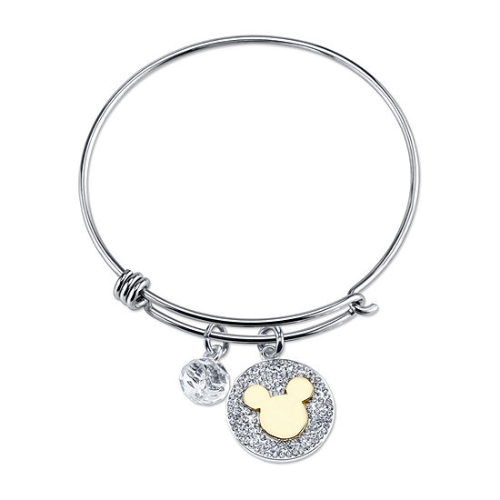 Pure Silver Over Brass 18 Inch Solid Cable Mickey Mouse Bangle Bracelet