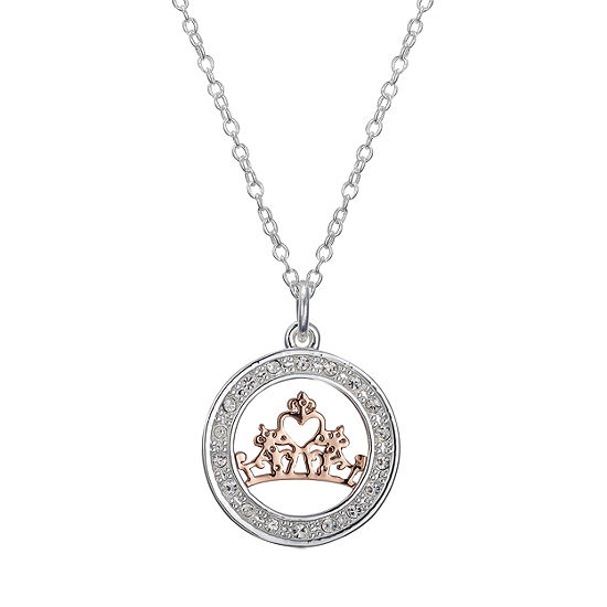 Disney Crystal Pure Silver Over Brass 18 Inch Cable Disney Princess Pendant Necklace
