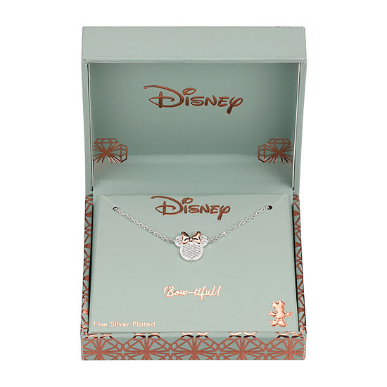 Disney Womens Cubic Zirconia Pure Silver Over Brass Minnie Mouse Pendant Necklace