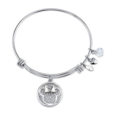 Disney Crystal Pure Silver Over Brass Minnie Mouse Bangle Bracelet