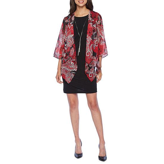 R & K Originals 3/4 Sleeve Faux Jacket Dress