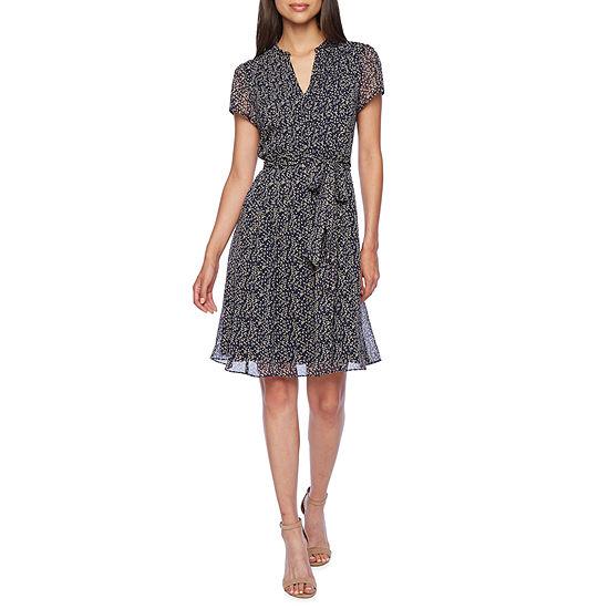 MSK Short Sleeve Midi Shirt Dress