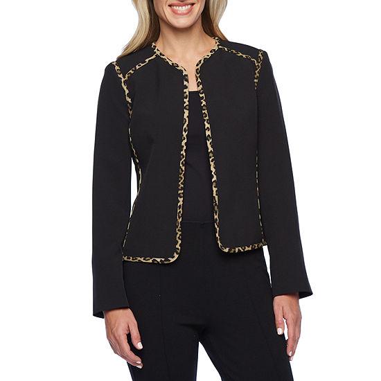 Black Label by Evan-Picone Animal Trim Suit Jacket