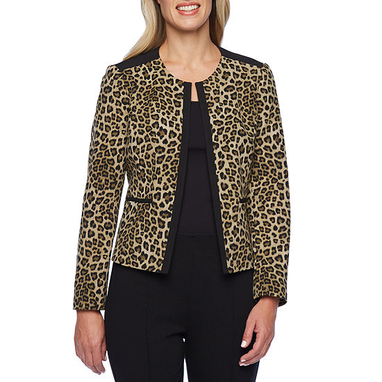 Black Label by Evan-Picone Leopard Print Suit Jacket