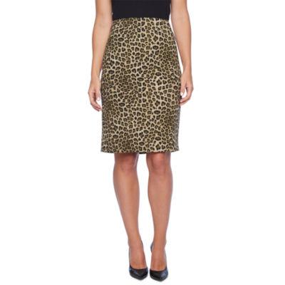 Black Label by Evan-Picone Leopard Print Suit Skirt