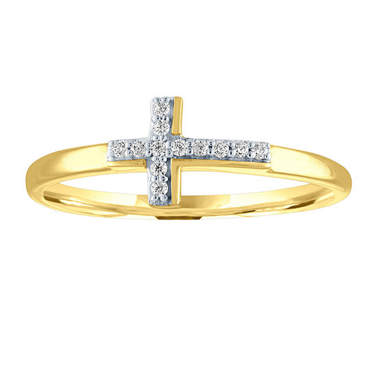 Womens Diamond Accent Genuine Diamond 10K Gold Cross Cocktail Ring