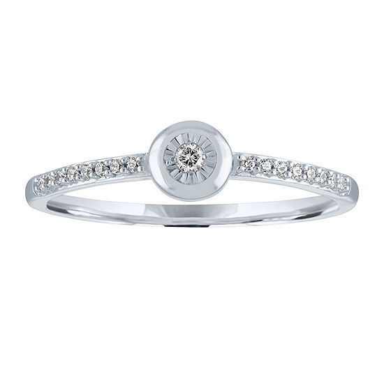 Womens Diamond Accent Genuine Diamond 10K White Gold Cocktail Ring