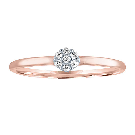 Womens Diamond Accent Genuine Diamond 10K Rose Gold Cluster Cocktail Ring