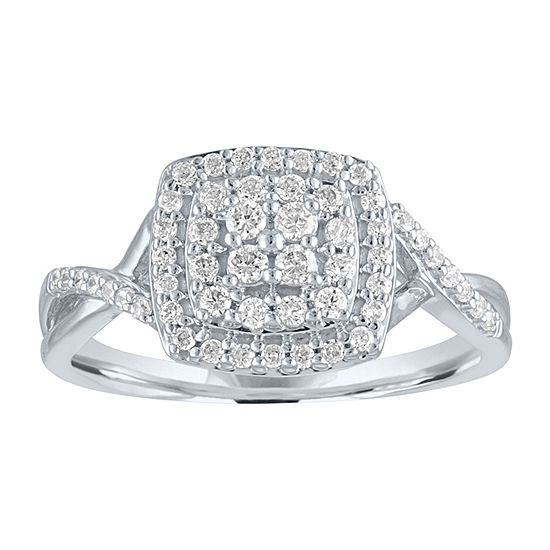 Womens 1/3 CT. T.W. Genuine Diamond 10K White Gold Cocktail Ring