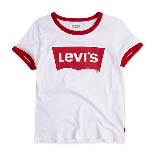 Levi's Retro Ringer Girls Round Neck Short Sleeve T-Shirt-Big Kid