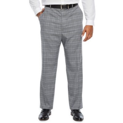 JF J.Ferrar - Big and Tall Ultra Comfort Plaid Slim Fit Stretch Suit Pants
