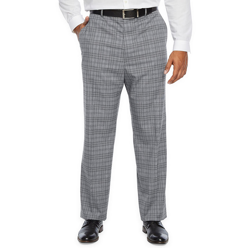 1920s Men's Pants, Trousers, Plus Fours, Knickers Big and Tall  JF J.Ferrar Ultra Comfort Plaid Stretch Suit Pants - Big and Tall Mens Size 44x29 Gray $40.00 AT vintagedancer.com