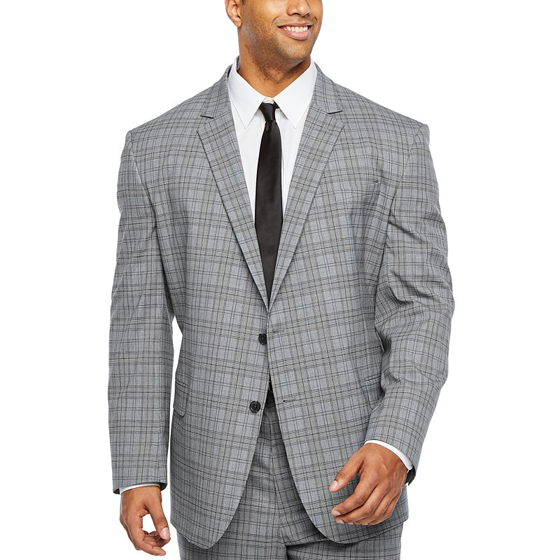 Men's Vintage Style Suits, Classic Suits JF J.Ferrar Ultra Comfort Plaid Stretch Suit Jacket-Big and Tall Mens Size 50 Big Regular Gray $80.00 AT vintagedancer.com
