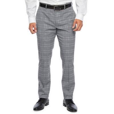 JF J.Ferrar Ultra Comfort Plaid Super Slim Fit Stretch Suit Pants
