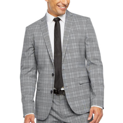 JF J.Ferrar-Slim Ultra Comfort Plaid Super Slim Fit Stretch Suit Jacket