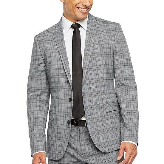JF J.Ferrar Ultra Comfort Plaid Super Slim Fit Stretch Suit Jacket