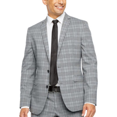 JF J.Ferrar Ultra Comfort Plaid Slim Fit Stretch Suit Jacket