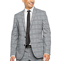 clearance gray suits sport coats for men jcpenney jf j ferrar ultra comfort plaid slim fit stretch suit separates