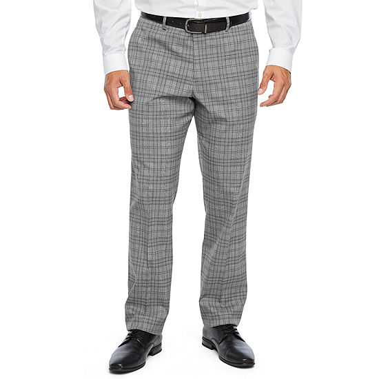 JF J.Ferrar Ultra Comfort Plaid Slim Fit Stretch Flat Front Suit Pants