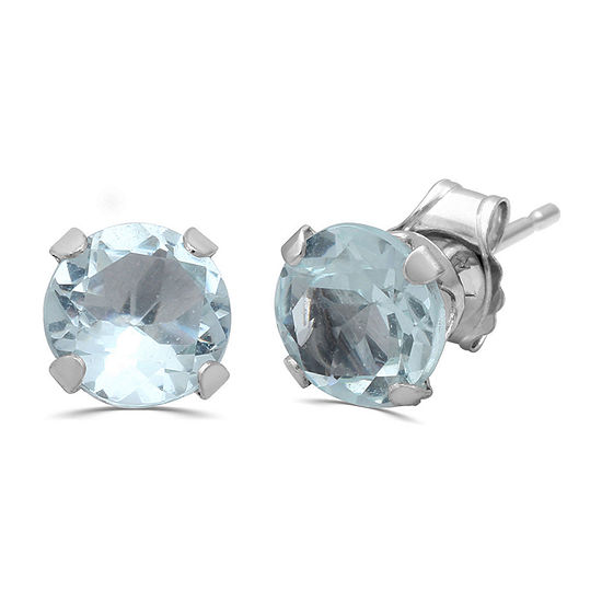 Genuine Blue Aquamarine 10K Gold Stud Earrings