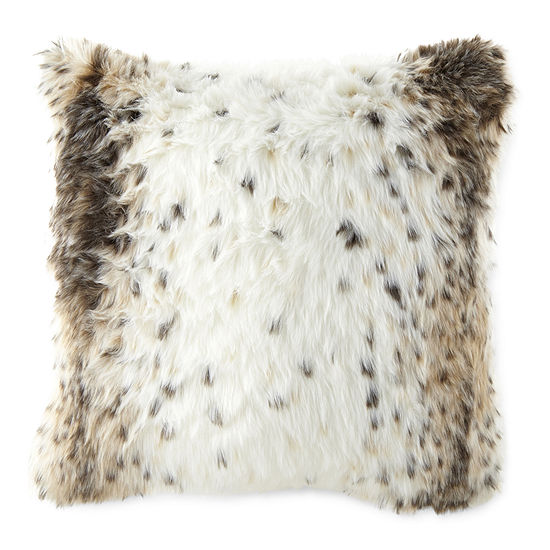 Faux Fur Jacquard Square Throw Pillow