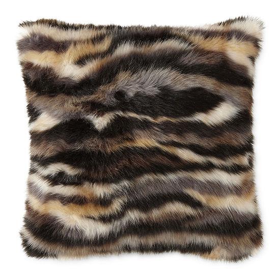 Faux Fur Square Throw Pillow