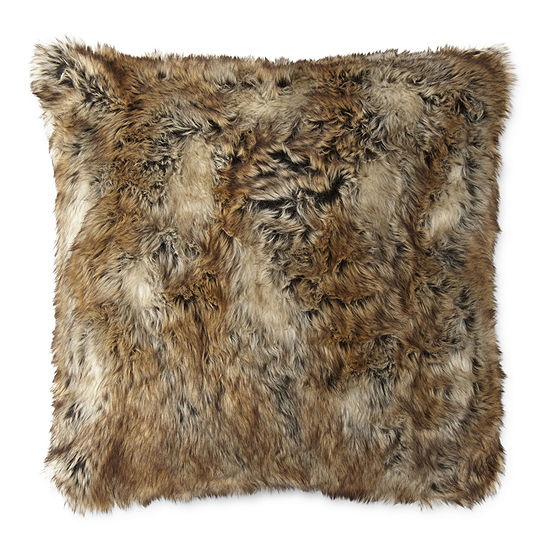 Faux Fur Square Throw Pillow