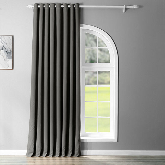 Exclusive Fabrics & Furnishing Solid Extra Wide Blackout Grommet-Top Single Curtain Panel