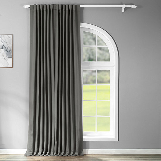 Exclusive Fabrics & Furnishing Solid Extra Wide Blackout Back-Tab Single Curtain Panel