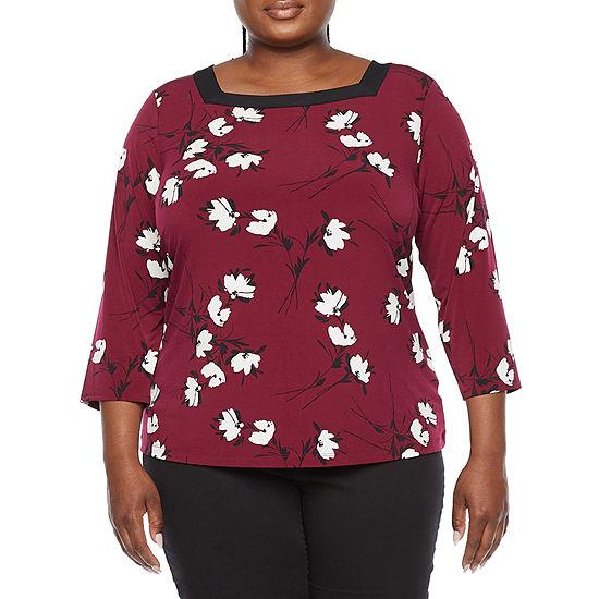 Liz Claiborne Plus Womens Square Neck 3/4 Sleeve Blouse