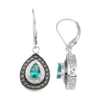 Sterling Silver Lab-Created Emerald & Diamond Earrings