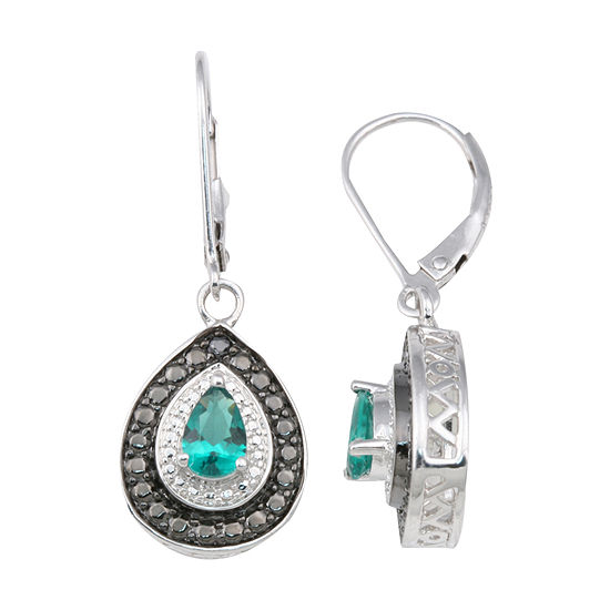 Sterling Silver Lab Created Emerald Diamond Earrings