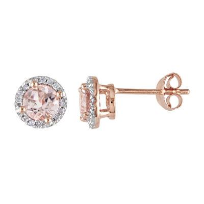 1 CT. T.W. Genuine Pink Morganite Stud Earrings