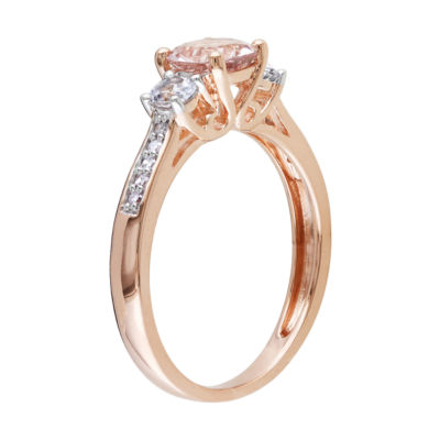 Genuine Morganite and Diamond-Accent 10K Rose Gold 3-Stone Ring