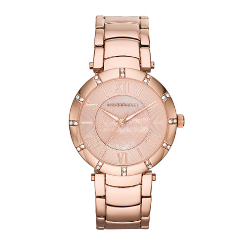 Liz Claiborne Womens Rose-Tone Logo Crystal-Accent Bracelet Watch