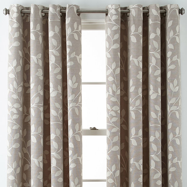 JCPenney Home™ Quinn Leaf Grommet-Top Curtain Panel - JCPenney