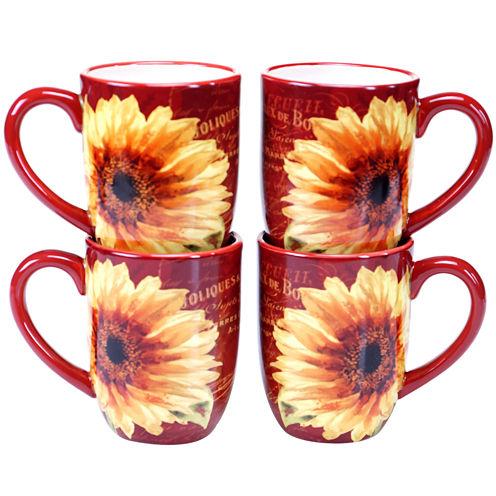 Certified International Paris Sunflower Set of 4 Mugs
