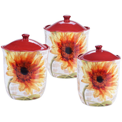 Certified International Paris Sunflower 3-pc. Canister Set