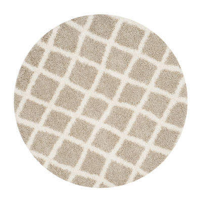 Safavieh Dallas Shag Collection Cara Geometric Round Area Rug