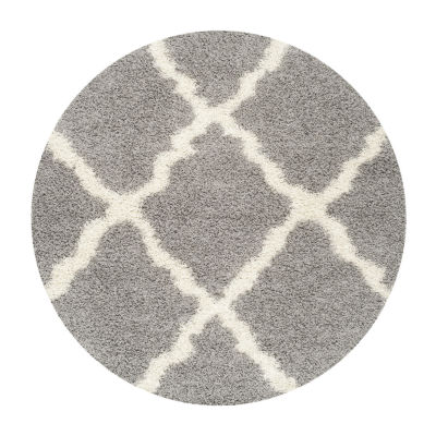 Safavieh Dallas Shag Collection Caris Geometric Round Area Rug