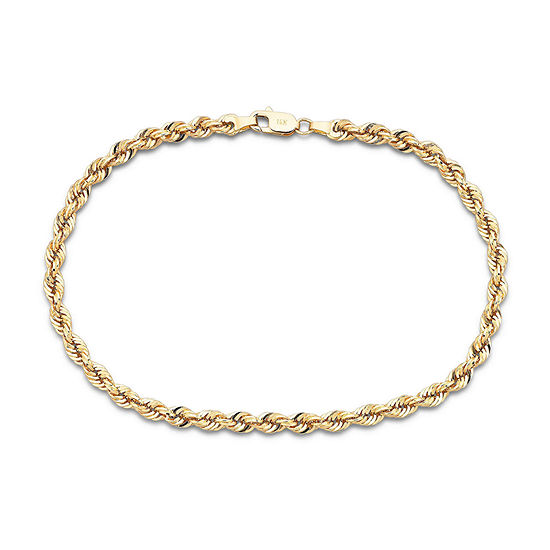 """10K Yellow Gold 4mm 22"""" Hollow Glitter Rope Chain"""